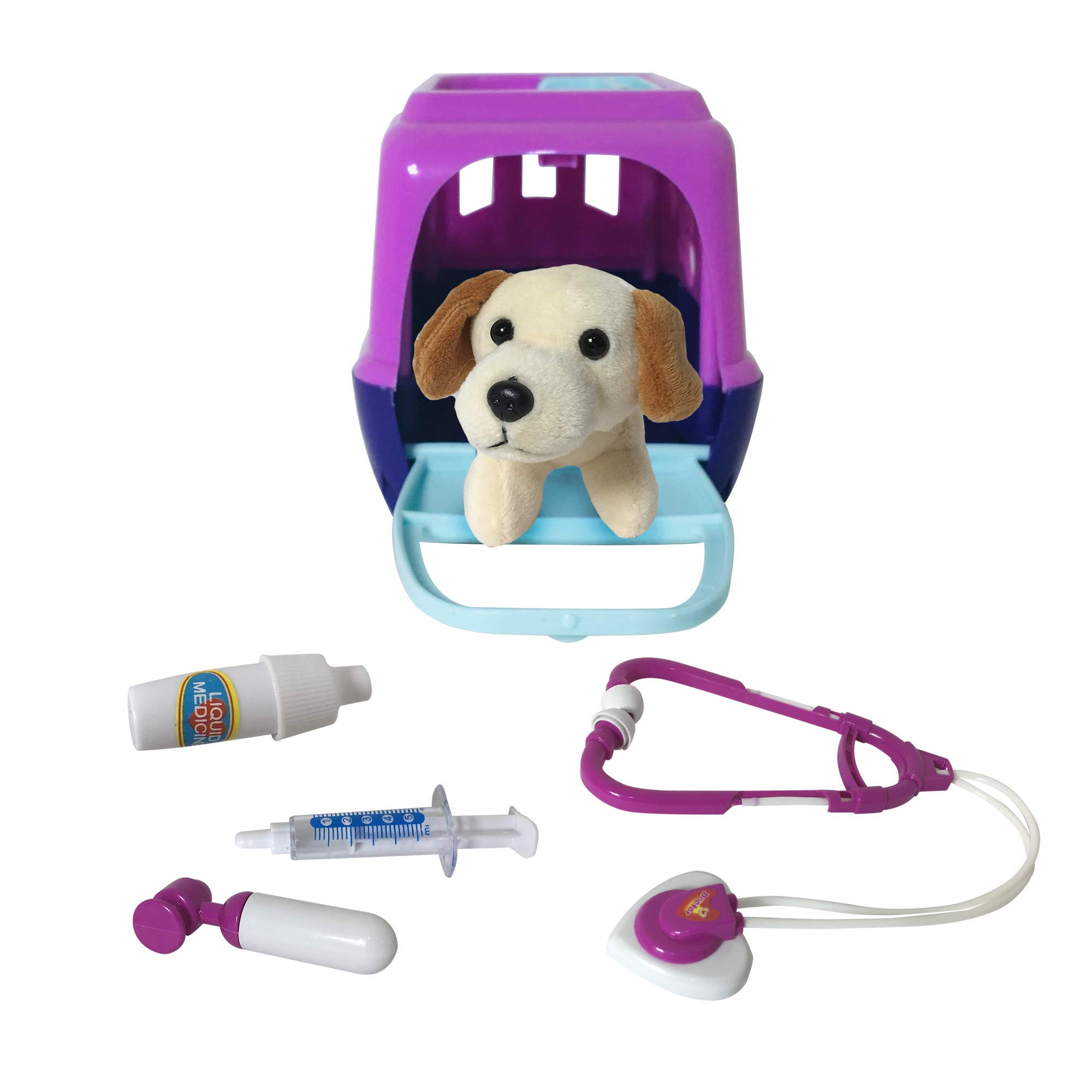 Plush Pals Kids Vet Toy Set - Plush Dog & Pet Carrier Veterinarian Animal Care Doctor Role Play Game [6 Pieces]