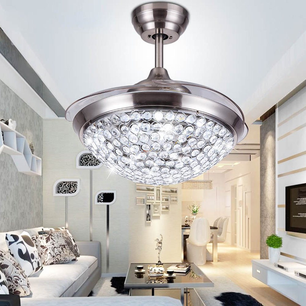 Yue Jia 42 Inch Promoting Natural Ventilation Invisible Fan Modern Luxury Crystal Dimmable (Warm/Daylight/Cool White) Chandelier Foldable Ceiling Fans With Lights Ceiling Fan with Remote Control by YUEJIA (Image #2)