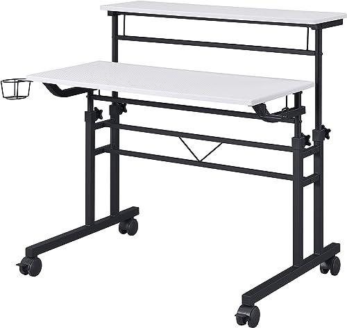 Best modern office desk: Techni Mobili Rolling Writing Height Adjustable Desktop and Moveable Shelf,White Desk