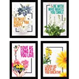 FATMUG Framed Wall Paintings Inspiring Quotes for Office and Home -Set of 4 - Happiness