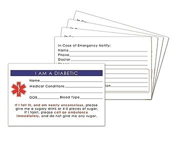 Amazon Com 5 Pack Diabetic Medical Alert Id Wallet Card Emergency