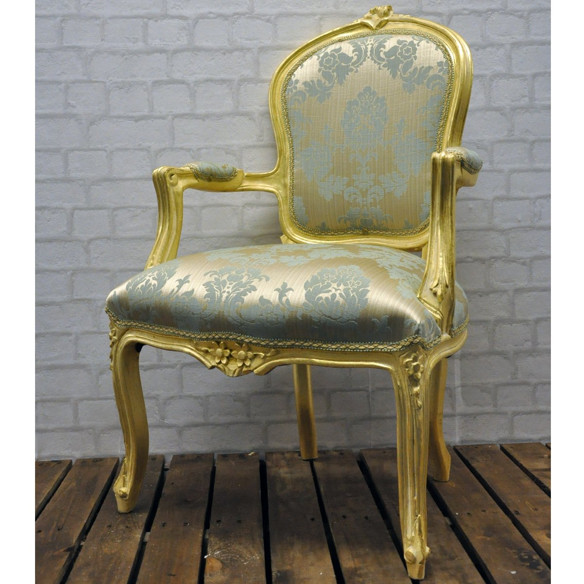 Antique upholstered chair styles - Vintage French Style Antique Finish Gold Frame Duck Egg Damask Louis Bedroom Arm Chair Upholstered In Uk Amazon Co Uk Kitchen Home
