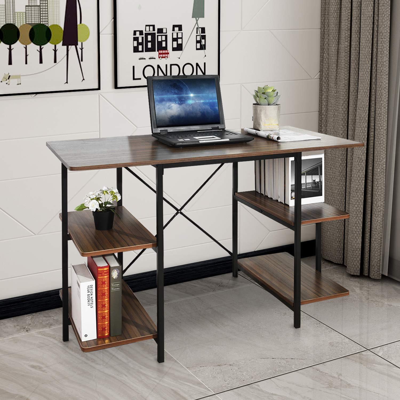 GreenForest Computer Desk with Shelves 47 Inch Large Desktop Home Office Desk Workstation, Walnut by GreenForest (Image #3)