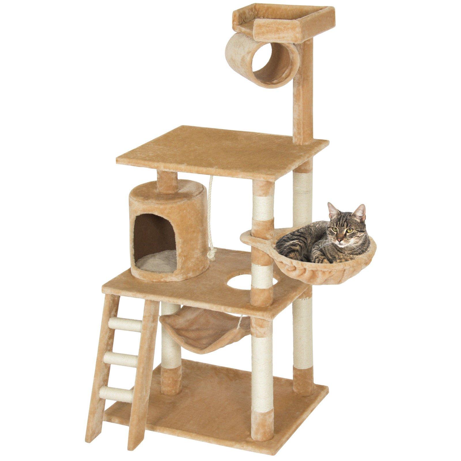 Eight24hours Pet Play House 60'' Cat Tree Scratcher Condo Furniture - Beige + FREE E-Book
