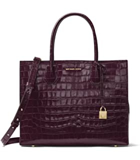 174994bb9f19 MICHAEL Michael Kors Mercer Embossed-Leather Large Convertible Tote in  Damson