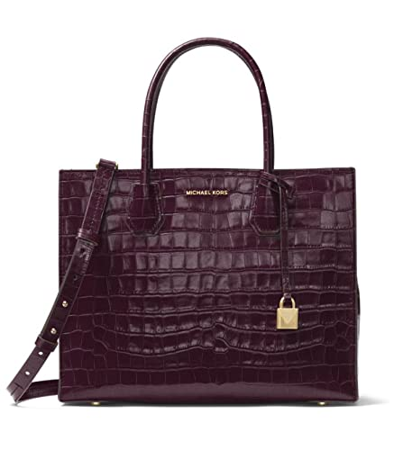 3561b6cac5bb Amazon.com  MICHAEL Michael Kors Mercer Embossed-Leather Large Convertible  Tote in Damson  Shoes
