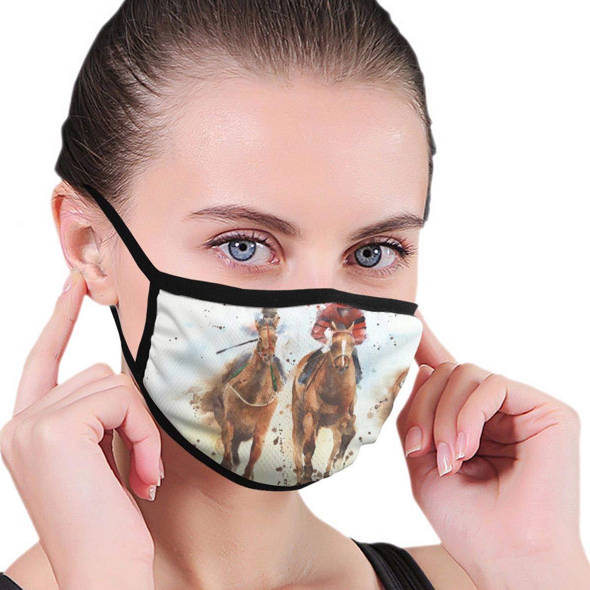 Divertida cubierta bucal a prueba de polvo lavable reutilizable carrera de caballos deporte jinetes competencia protección seguridad cálido a prueba de viento para mujeres hombres