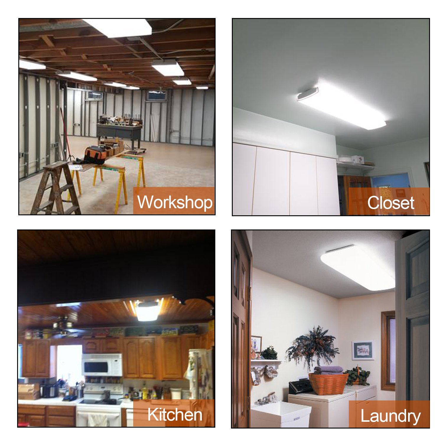 AntLux 4FT LED Wraparound Flushmount LED Garage Shop Lights - 40W 4800LM - 4000K Neutral White - Integrated Low Profile Commercial Linear Ceiling Lighting Fixture, Pack of 4