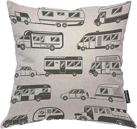 Amazon Com Moslion Car Pillows Bus Trailer Camping Travel Cars Vehicles Black White Throw Pillow Cover Decorative Square Accent Cotton Linen Home Pillow Case 18x18 Inch Home Kitchen