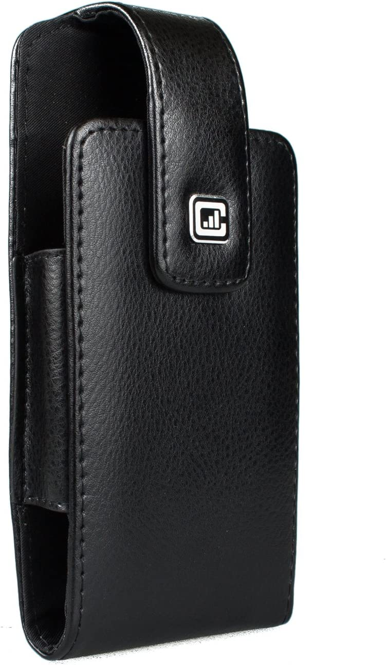 CASE123 MPS Classic TLS Genuine Leather Oversized Swivel Belt Clip Holster for Apple iPhone 11(6.1-inch Display) for use with Apple Leather Case only - Black