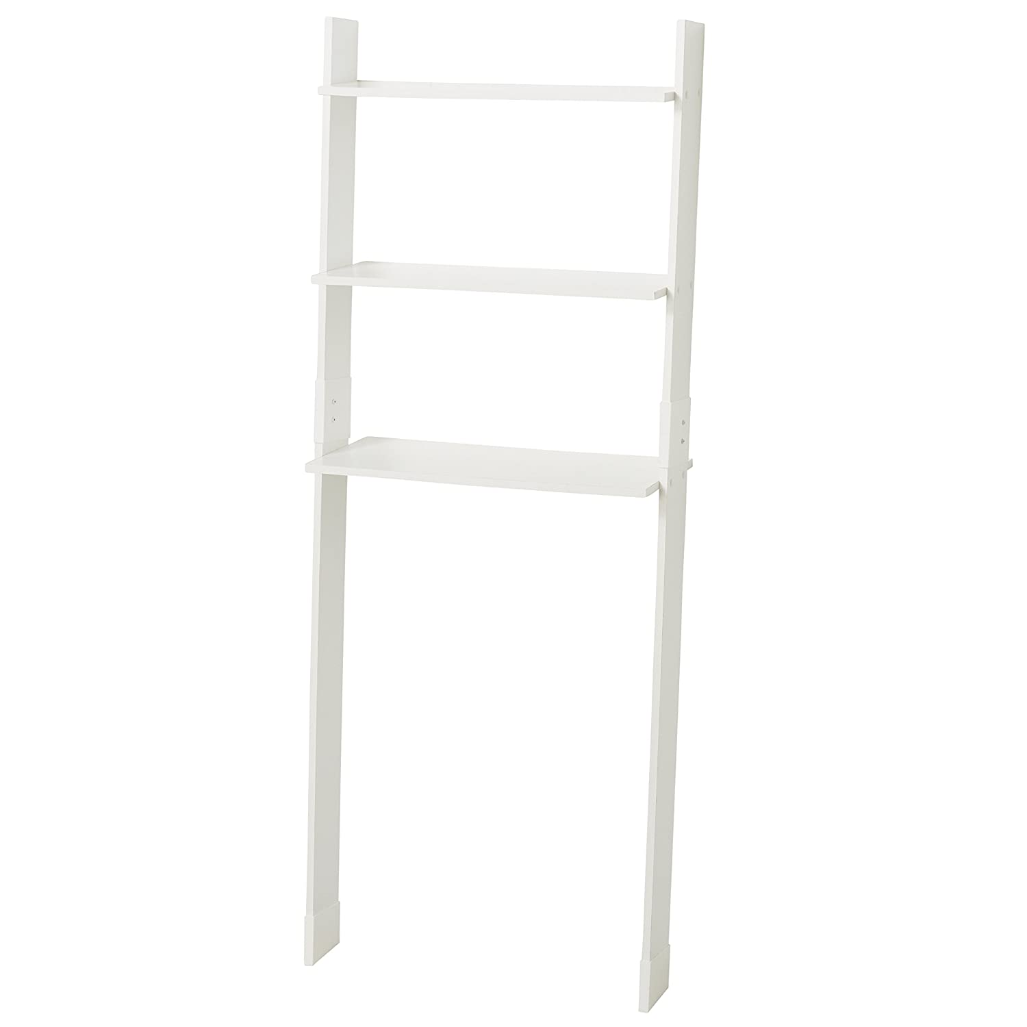 Zenna Home 9431W, Leaning Wood Ladder-Style Bathroom Spacesaver, White