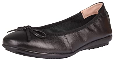 079cabccda29 Kunsto Women s Leather Ballerina Bow Ballet Flats Comfortable Slip-On Shoes  US Size 6 Black