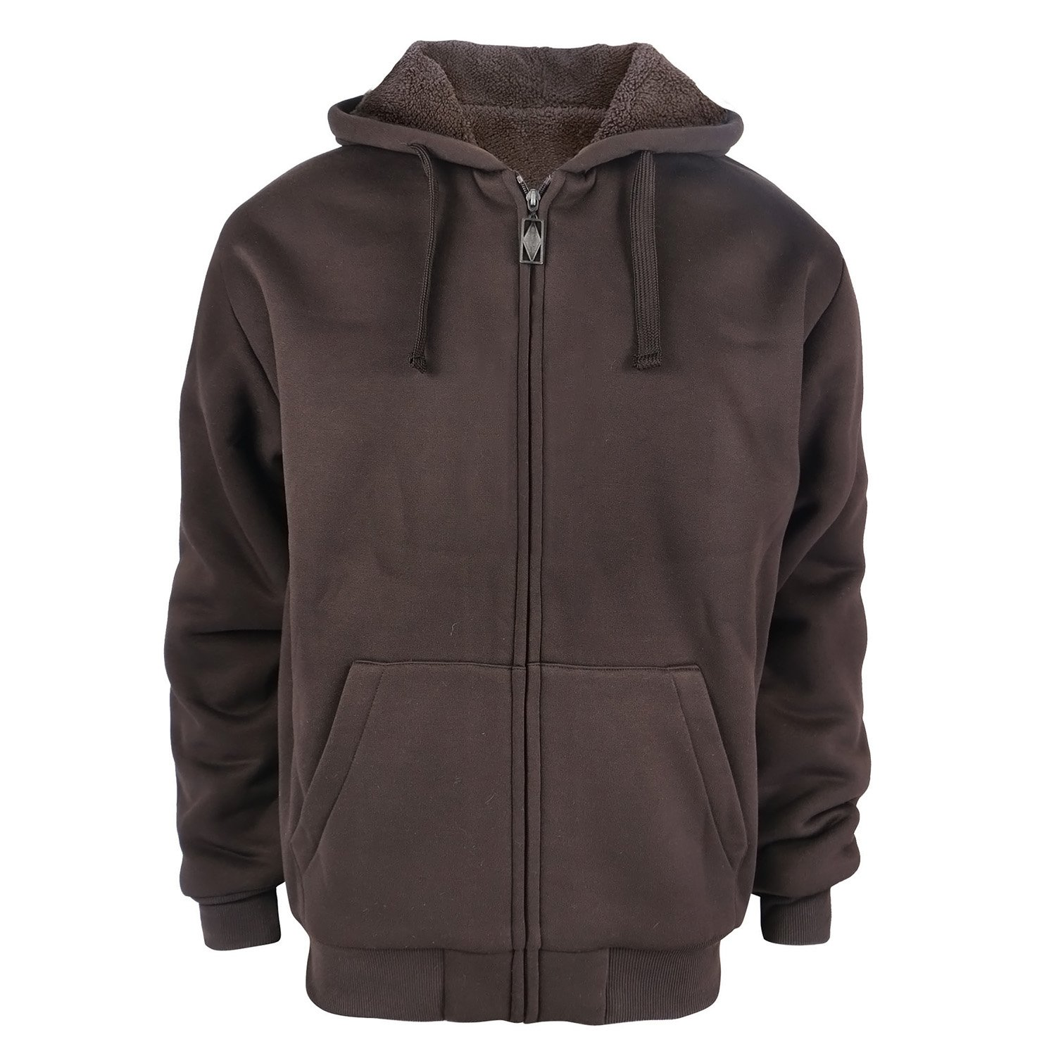 Gary Com Heavyweight 1.8 lbs Full-Zip Sherpa Lined Fleece Hoodies for Men Plus Size 5X Big and Tall Warm Jackets 5XL Coffee