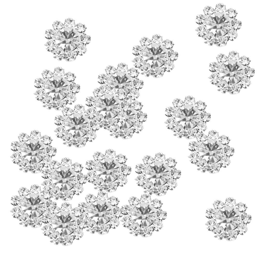 MagiDeal 20 xクリアクリスタル花柄ボタンFlatback装飾DIYクラフト装飾12 mm   B07598V6LR