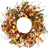 WANNA-CUL 24 inch Blossom Silk Fall Wreath for Front Door with Hydrangea Floral,Cotton, Pine Cone,Berries, Eucalyptus…