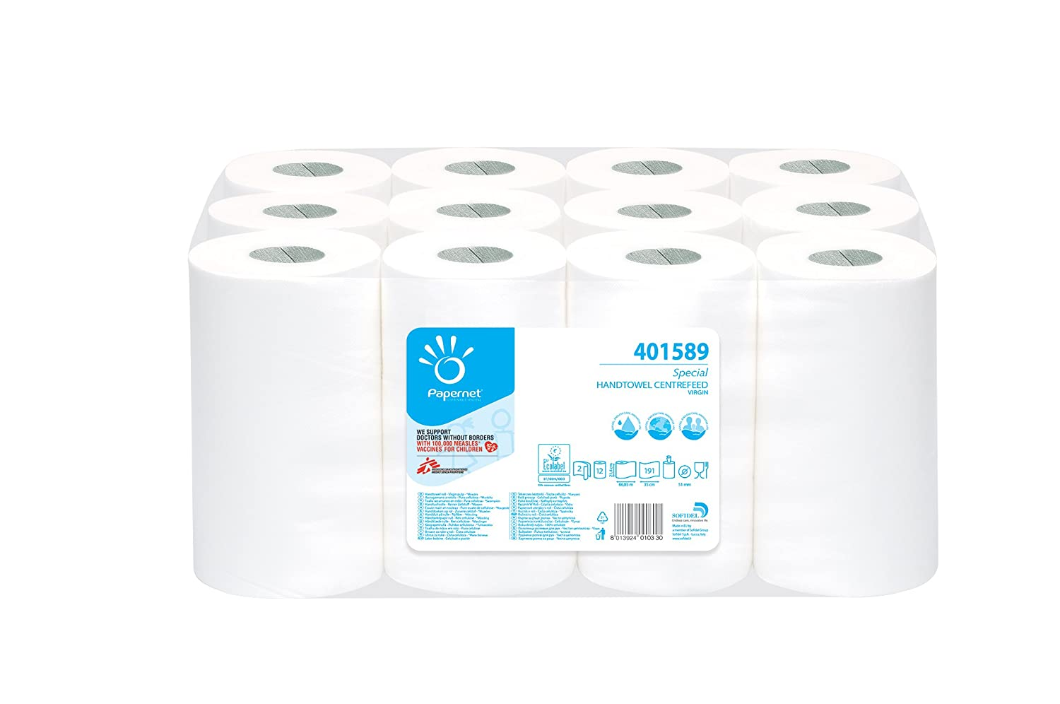 Pack of 12 /White Papernet Special 401589/Centrefeed Roll Towels Pure Cellulose Ecolabel/