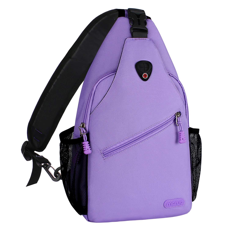 MOSISO Sling Backpack, Multipurpose Crossbody Shoulder Bag Travel Hiking Daypack, Light Purple