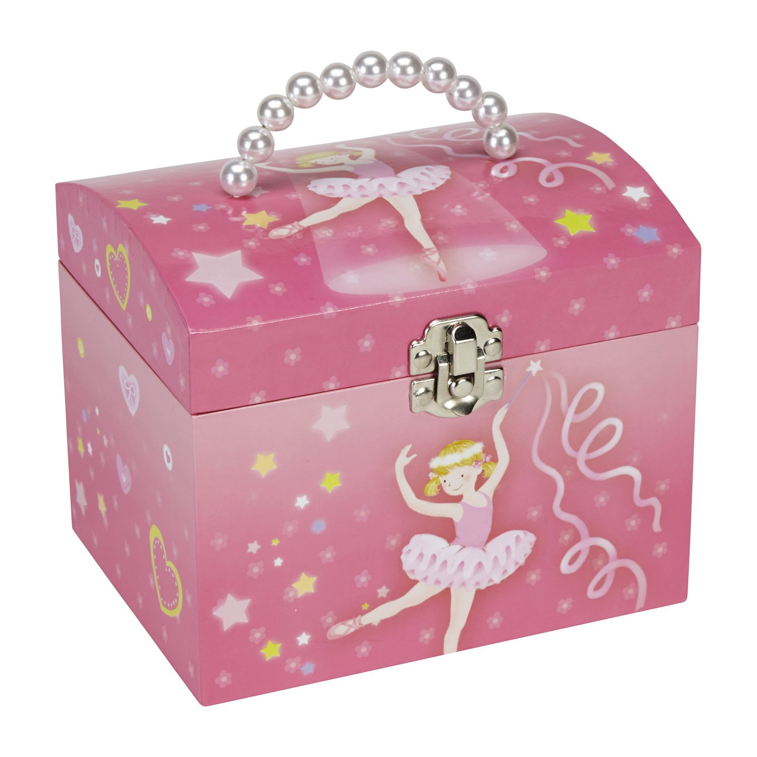 JewelKeeper Dancing Ballerina Music Jewelry Box with Pearl Handle and Removable Insert, Girl's Jewel Storage Organizer, Swan Lake Tune by JewelKeeper