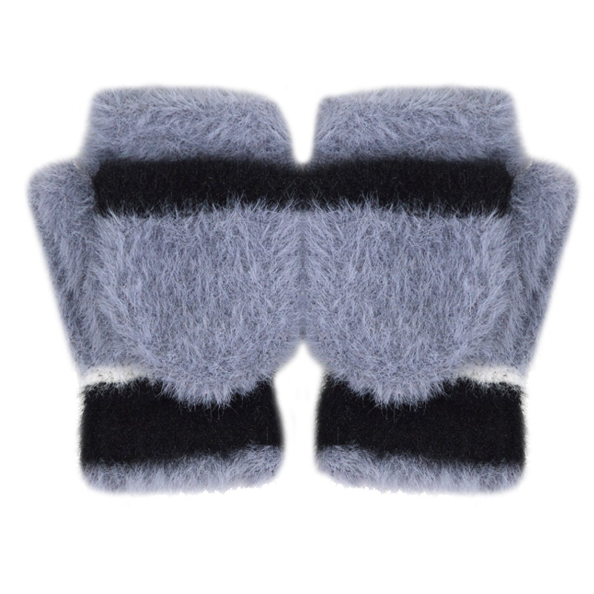 Women Cute Half Finger Gloves Flip Top Convertible Mittens Plush Faux Fur Mitts(Grey)