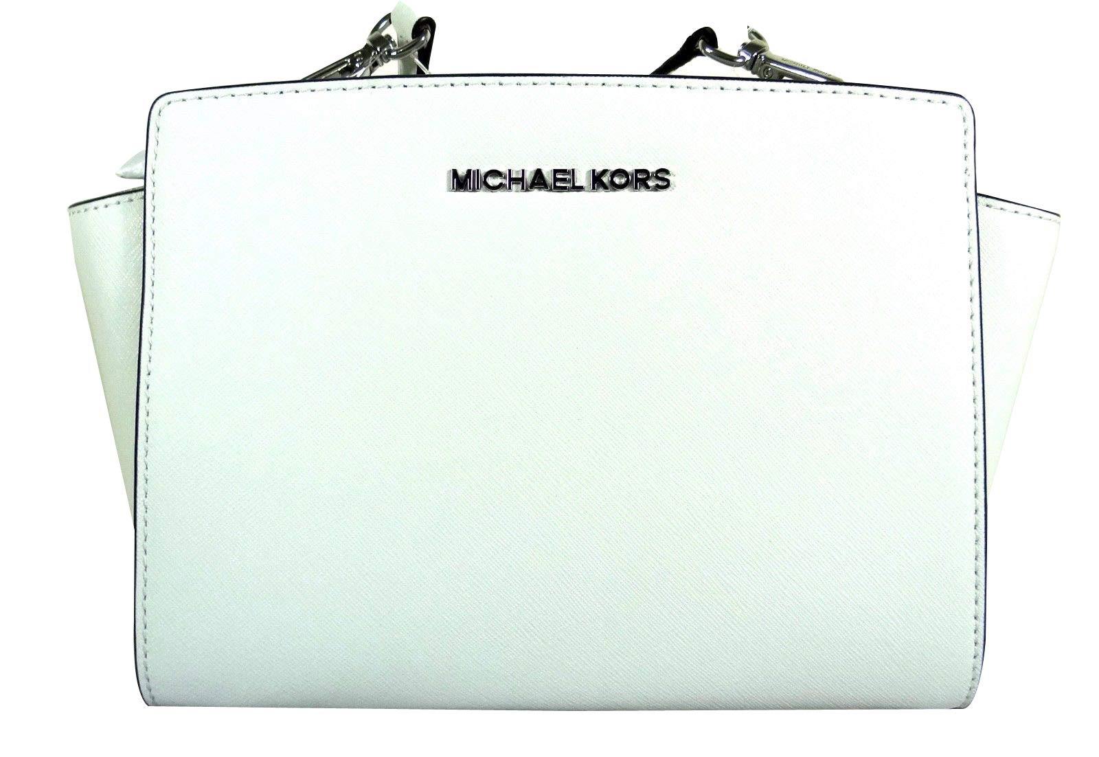 Michael Michael Kors Selma Optic White Saffiano Leather Medium Messenger Bag