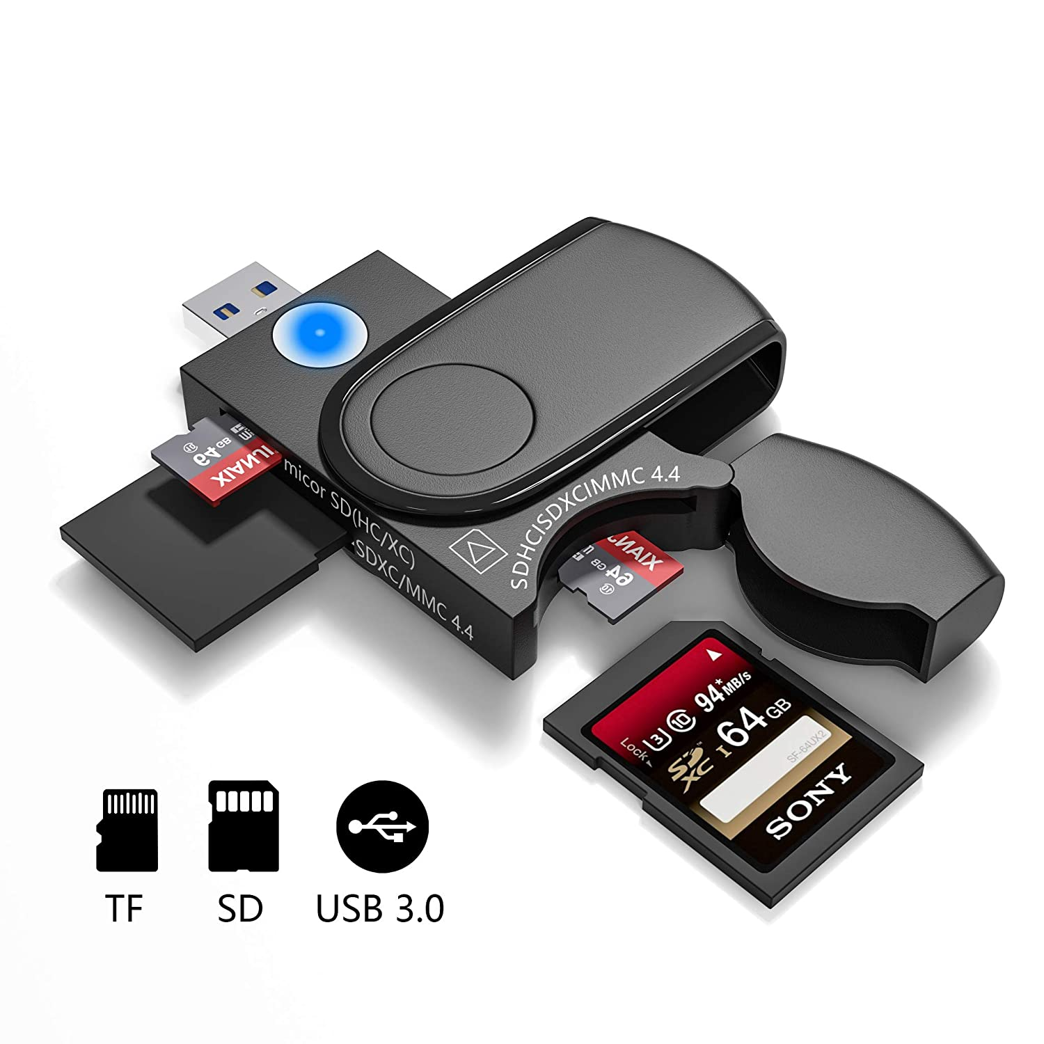 SD Card + Micro SD Card Cateck 4 in 1 USB 3.0 Memory Card Reader//Writer with a Build-in Card Cover and 4 Slots for SDXC Micro SD Micro SDHC Micro SDXC UHS-I SD SD MMC Memory Cards SDHC