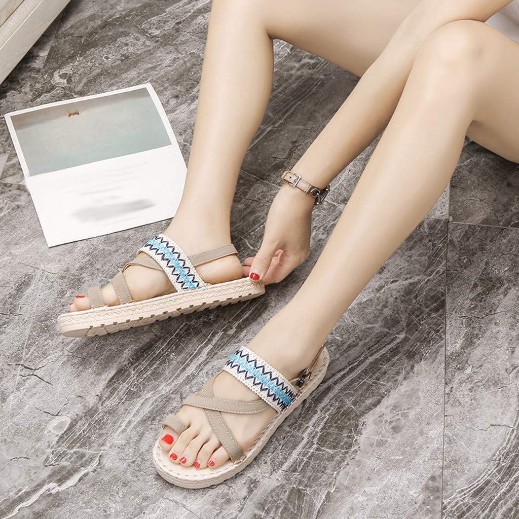 Thenxin Bohemian Cloth Open Toe Flat Sandals for Women's Ethnic Beach Shoes (Beige,6.5 US) by Thenxin-sandals (Image #4)