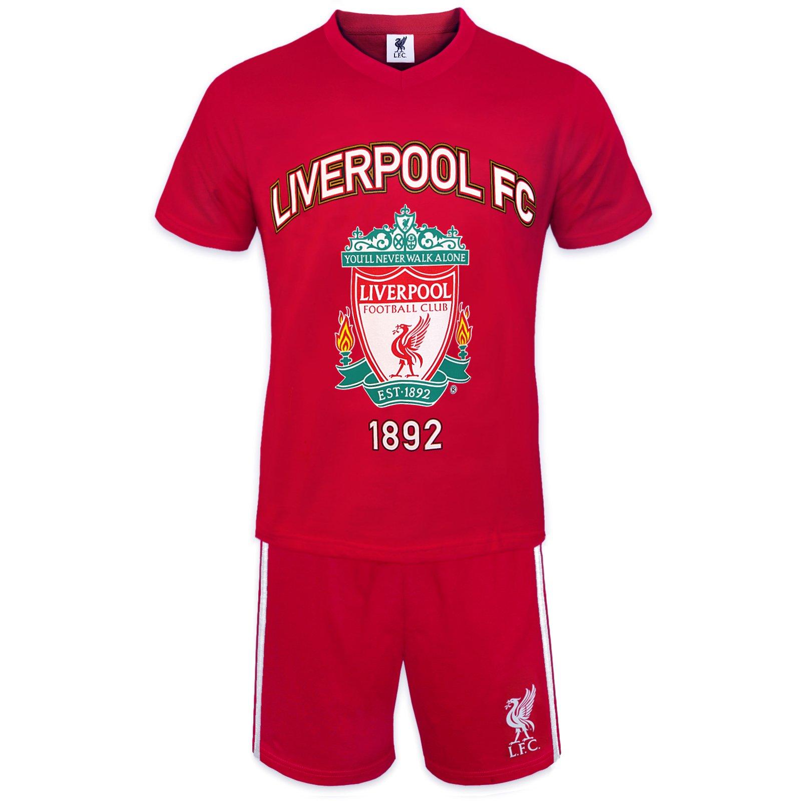 Liverpool FC Official Football Gift Mens Loungewear Short Pyjamas Red XL