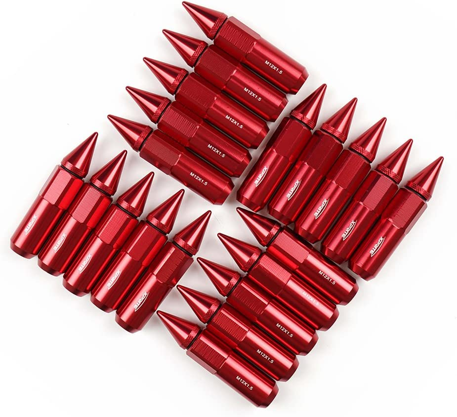 Xprite Red Aluminum 90mm Spike Extended Nut Refit Wheel Lug Nuts Tire Screw M12x1.5