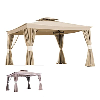 Garden Winds Replacement Canopy for Striped Valence Gazebo (L-GZ339PAL) - 350 - Beige : Garden & Outdoor