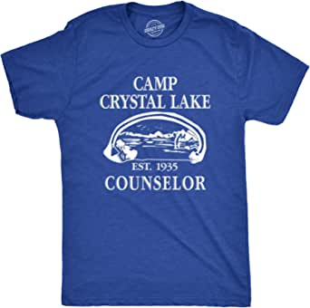 Mens Camp Crystal Lake T Shirt Funny Graphic Camping Vintage Adult Novelty Tees, Blue, 3X-Large