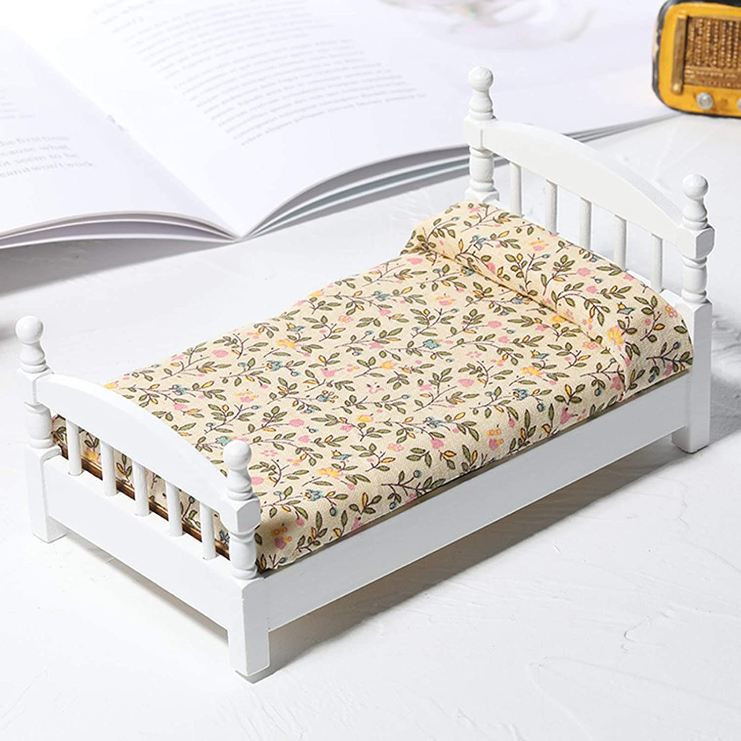 helegeSONG 1/12 Scale Dollhouse White Wooden Bed with Mattress & Pillow Miniiature Dollhouse Furniture Dollhouse Decor