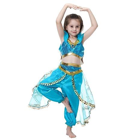 e2facf52b1af2 MISOAMISO 子供 ハロウィン コスチューム ジャスミン姫 コスプレ衣装 キッズ 女の子 プリンセスドレス クリスマス ギフト 2点