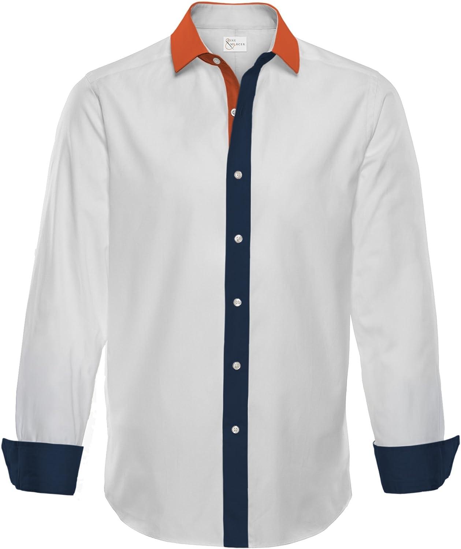 Pine /& Mercer Mens Linen-Cotton Dress Shirt Orange Navy Blue and White Donahue