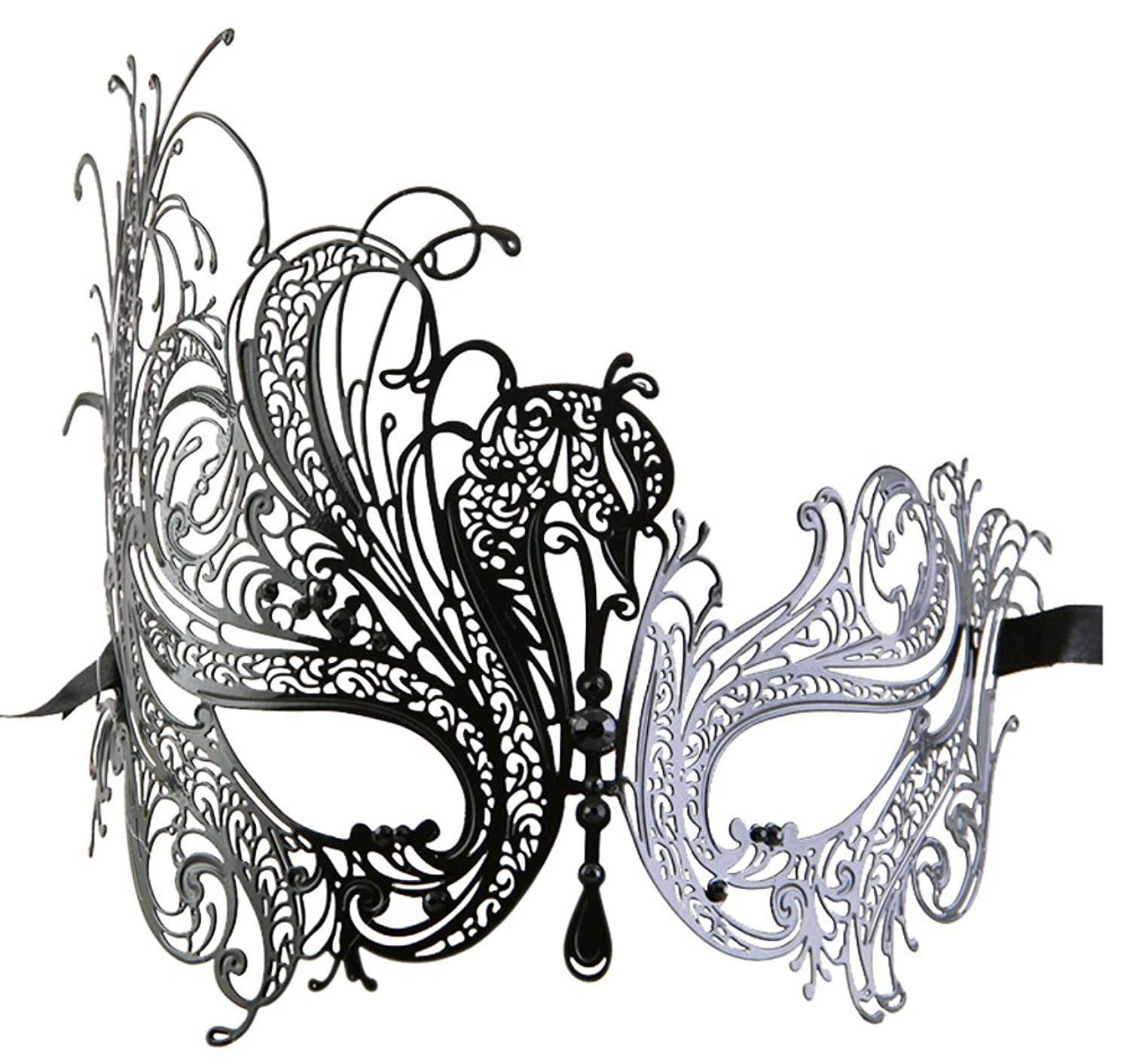 Women's Swan Metal Filigree Laser Cut Venetian Masquerade Mask