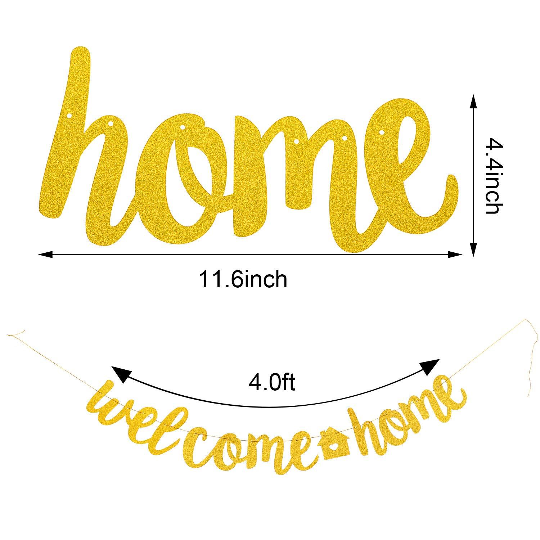 Boao 2 Piezas de Pancarta de Welcome Home Pancarta de Hogar de Home Sweet Pancarta de Estreno de Casa para Decoraci/ón de Fiesta de Bienvenida Dorado