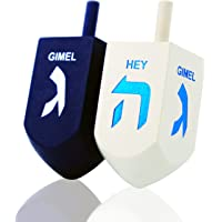 Let's Play Dreidel The Hanukkah Game 2 Extra Large Blue & White Wood Dreidels - Instructions Included! - D10