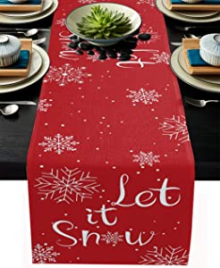 Christmas Table Runner-Cotton Linen-Let it Snow Dinner Scarf Décor,Long 72 Inch Holiday Winter snowflake Dresser Scarves,Farmhouse Xmas Kitchen Coffee/Dining Home Living Room Tablerunner,Red white