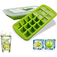 Silicone Ice Cube Mold Trays BPA Free - 21 Ice Trays with Removable Lid Food Grade Ice Mold Freezer Tray for Whiskey…