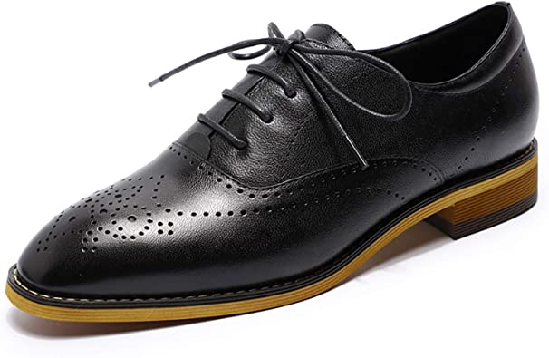Amazon.com   MIKCON Womens Oxfords Shoes Leather Perforated Wingtip Lace up  Flats Saddle Brogue Shoes for Womens Girls   Oxfords