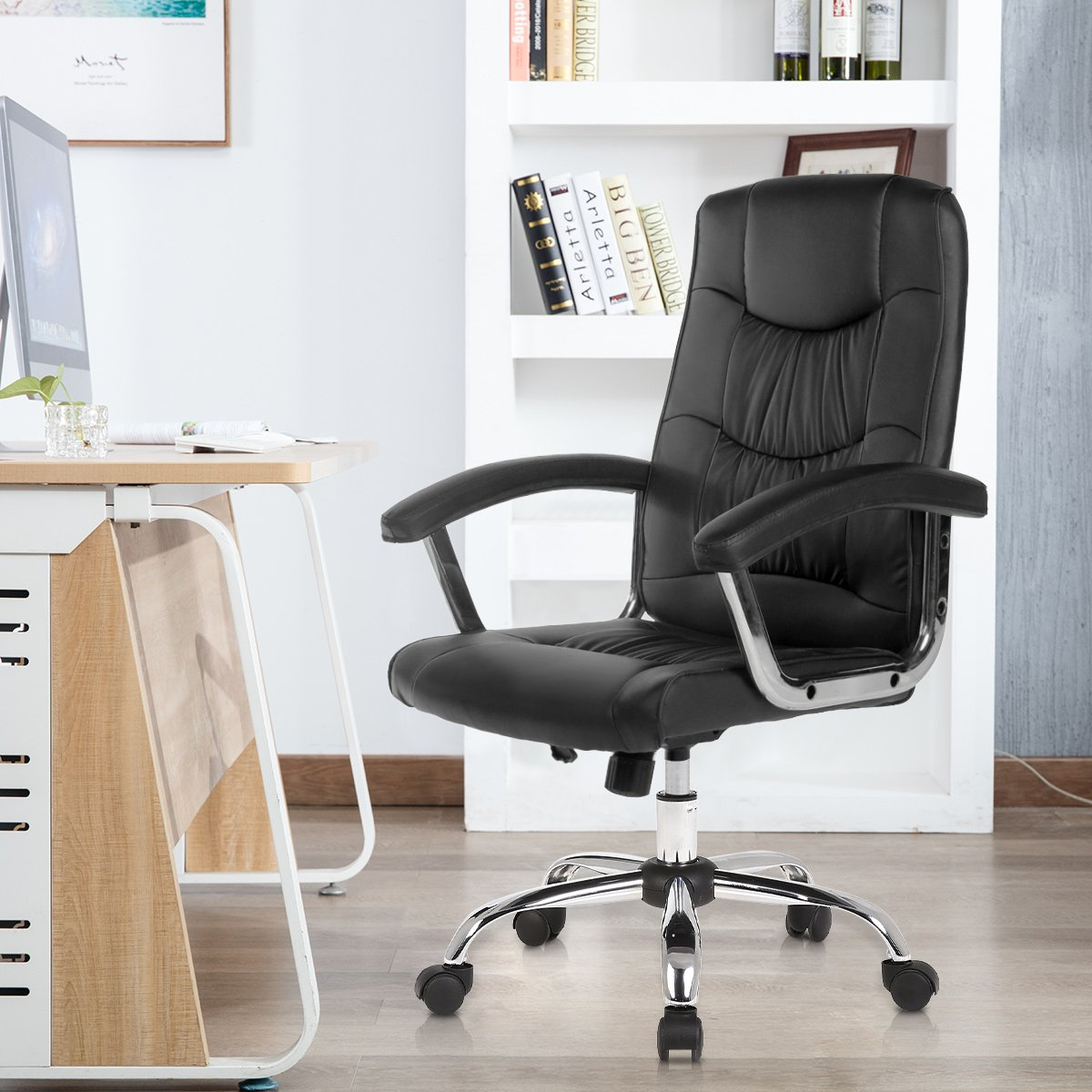 B2C2B Ergonomic PU Leather Swivel Executive Chair Home Office Computer Task Chair Adjustable Desk Chair Black 1658