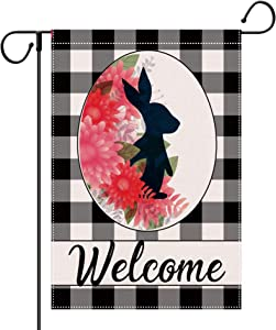 HUGSVIK Burlap Easter Day Garden Flags 12 x 18 Double Sided Buffalo Plaid Rabbit Easter Welcome Garden Flag, Rustic Outdoor Easter Decorations Flags for Farmhouse, Garden, Yard, Porch, Lawn