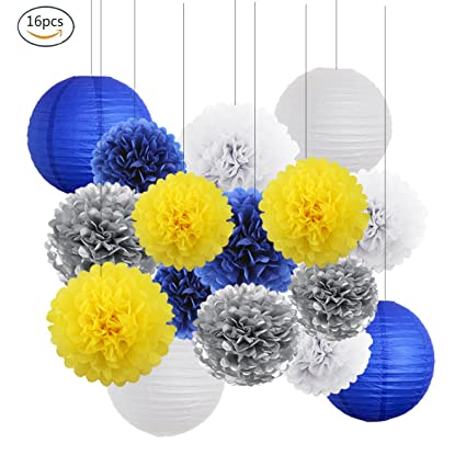 Amazon.com: Yellow Navy Blue White Sliver Bridal Shower Decorations ...