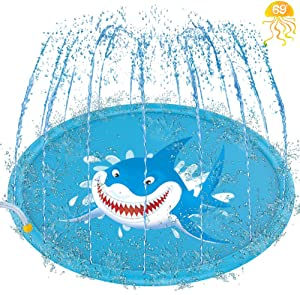 "69"" Inflatable Splash Pad, Sprinkle and Splash Play Mat, Outdoor Backyard Sprinklers Toys for Toodler Boys Girls Dogs, Children Fountain Baby Water Playmat Splashpad with Wading Pool Shark"