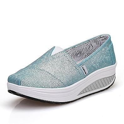 33ea7afe9d948 LFEU Femme Mocassin Loafers Chaussure de Sport Basket Montante Compensé  Slip-On Chaussure Bateau Légère