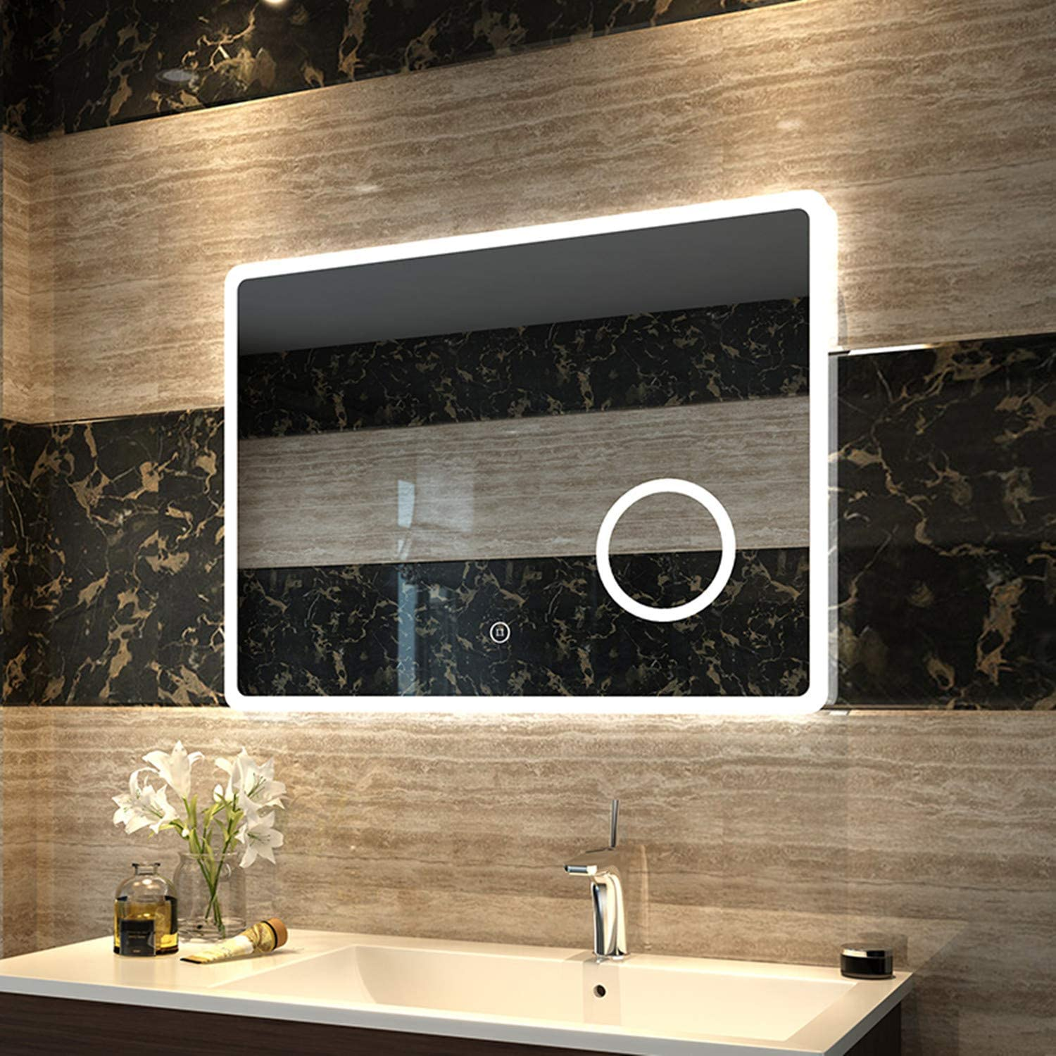 EMKE 40 x 32 Inch LED Vanity Bathroom Mirror Anti-Fog Dimmable Wall Mounted Makeup Mirror with Lights and Magnifier,Brightness Memory,Smart Touch Switch,UL Listed