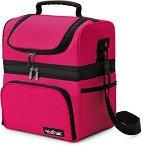 Apollo Walker Women Lunch Box Insulated Lunch Bag Waterproof Picnic Bag, Double Deck Cooler Hot Pink