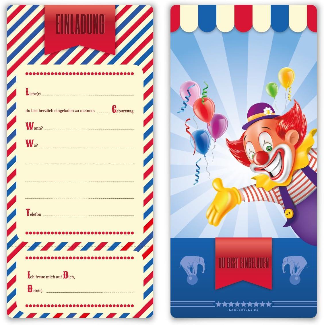 Zirkus Clown Ticket Einladungskarten Kindergeburtstag Jungen M/ädchen 8 St/ück Karten