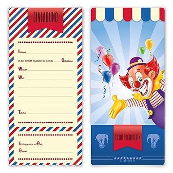 Einladungskarten Kindergeburtstag Jungen Mädchen 8 Stück Karten   Zirkus  Clown Ticket
