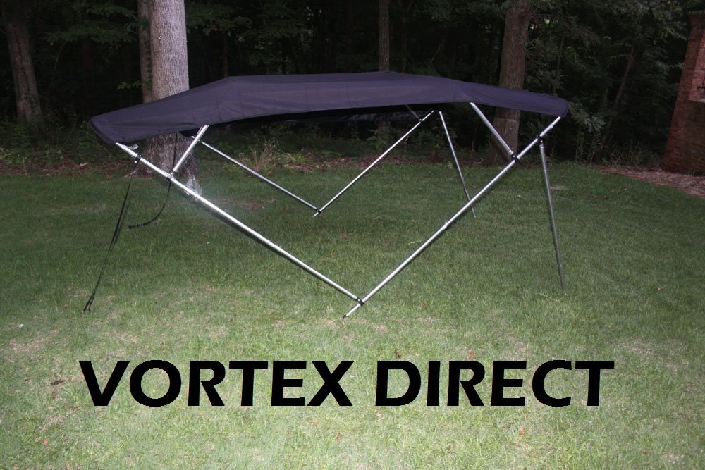 BLACK Vortex 4 Bow Bimini Top 12 Long Pontoon // Deck Boat Complete Kit 85-90 Wide Canopy and Hardware 54 High Frame FAST SHIPPING - 1 TO 4 BUSINESS DAY DELIVERY