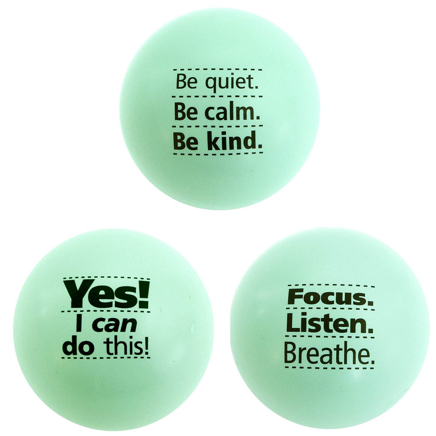 Teach Peach Assorted Motivational Stress Balls, Fun Fidget Toys for Kids, Teenagers, and Adults, Perfect Unique Gift Idea, Green 3 Pack